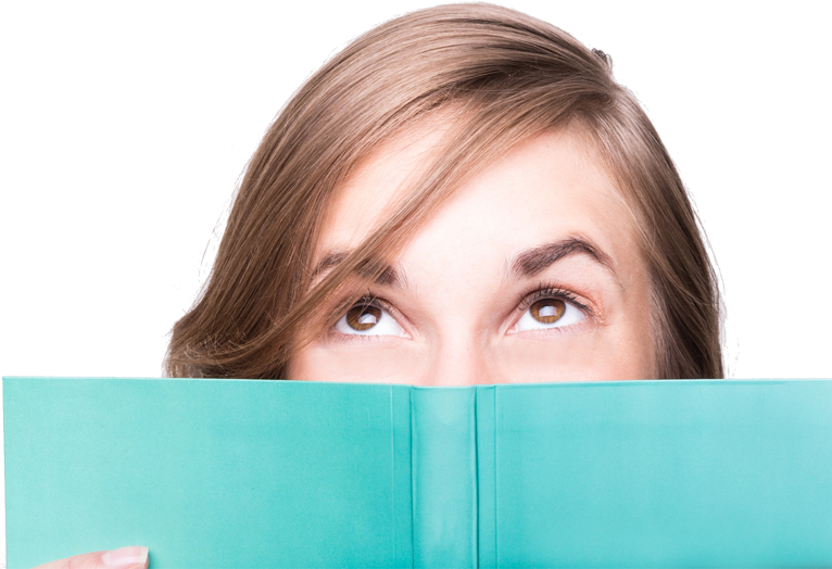 girl behind book